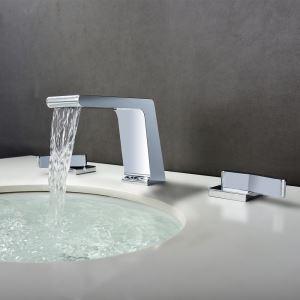 洗面蛇口 バス水栓 立水栓 冷熱混合栓 水道蛇口 置き型 2ハンドル クロム