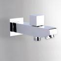 壁付水栓 シャワー水栓 浴槽蛇口 注ぎ口 分流器付 真鍮製 クロム(ハンドシャワー無し)