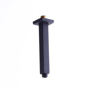 シャワーアーム シャワパイプ シャワーヘッド用部品 真鍮製 天井付け 8in 黒色