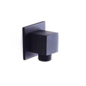 給水エルボ 給水口 接続口 シャワーホース部品 方形 真鍮 黒色
