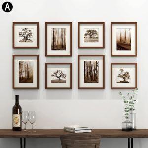 壁掛けフォトフレーム 写真立てセット 額縁 フォトデコレーション 木製 8個セット YMQXK8GZ