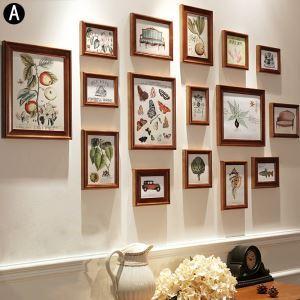 壁掛けフォトフレーム 写真立てセット 額縁 フォトデコレーション 木製 16個セット ERSCS16