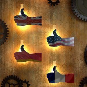 LED壁掛けライト ブラケット 照明器具 ウォールランプ 玄関照明 「いいね」型 国旗柄 LED対応