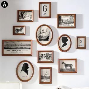 壁掛けフォトフレーム 写真立てセット 額縁 フォトデコレーション 木製 12個セット TXSC