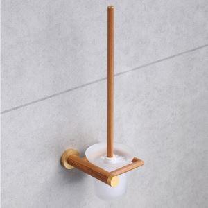 トイレブラシホルダー トイレ用品 トイレブラシ&ポット付き 高分子木材製 北欧風