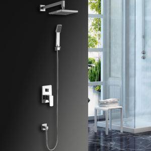 LED埋込形シャワー水栓 レインシャワーシステム ヘッドシャワー+ハンドシャワー バス水栓 混合栓 水流発電 クロム