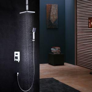 埋込形シャワー水栓 レインシャワーシステム バス水栓 ヘッドシャワー+ハンドシャワー 混合栓 水道蛇口 クロム
