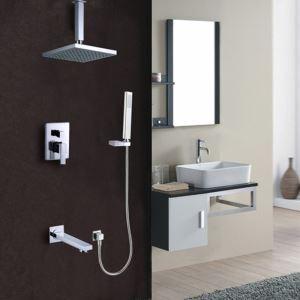 埋込形シャワー水栓 レインシャワーシステム バス水栓 ヘッドシャワー+ハンドシャワー+蛇口 混合栓 クロム