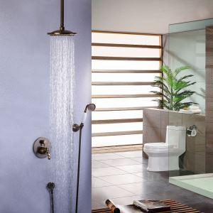 埋込形シャワー水栓 レインシャワーシステム バス水栓 ヘッドシャワー+ハンドシャワー 混合栓 水道蛇口 ブラス