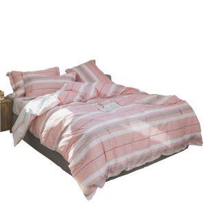 布団セット 掛け布団カバー ボックスシーツ まくらカバー 寝具カバー 敷き布団 ふとん ベッドシーツ ピンク 純綿 縦縞柄 4点セット