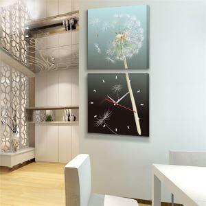 壁掛け時計 絵画時計 アート時計 静音 オシャレ 2枚パネル タンポポ