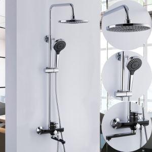 浴室シャワー水栓 レインシャワーシステム バス水栓 ヘッドシャワー+ハンドシャワー+蛇口 混合栓 クロム&黒色