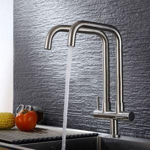 キッチン蛇口 台所蛇口 単水栓 2吐水口 2ハンドル 360°回転 7字型 ヘアライン