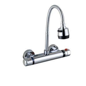 壁付蛇口 キッチン水栓 台所蛇口 サーモスタット付水栓 温度調節ハンドル 整流&シャワー吐水式 360°回転 クロム