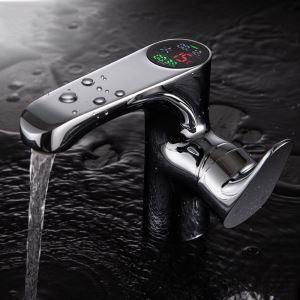 洗面蛇口 バス水栓 冷熱混合栓 デジタル表示器付 水流発電 クロム