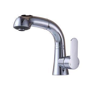 洗面蛇口 スプレー混合栓 洗髪用水栓 ホース引出式 水道蛇口 整流&シャワー吐水式 クロム