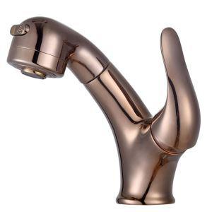 洗面蛇口 スプレー混合栓 洗髪用水栓 ホース引出式 水道蛇口 整流&シャワー吐水式 ローズゴールデン