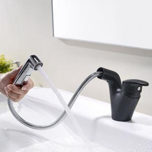 洗面蛇口 スプレー混合栓 洗髪用水栓 ホース引出式 水道蛇口 整流&シャワー吐水式 黒色