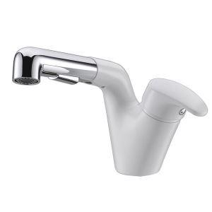 洗面蛇口 スプレー混合栓 洗髪用水栓 ホース引出式 水道蛇口 整流&シャワー吐水式 白色