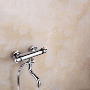 浴室シャワー混合水栓 壁付サーモスタット混合栓 バス水栓 浴槽用蛇口 クロム(ハンドシャワー無し)