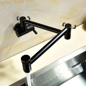 壁付水栓 キッチン蛇口 単水栓 台所蛇口 折畳み式 2ハンドル ORB