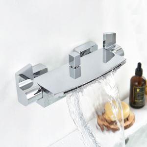 浴室シャワー混合栓 壁付混合栓 浴槽用蛇口 クロム(ハンドシャワー無し)