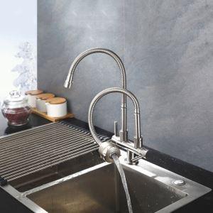 キッチン蛇口 台所蛇口 単水栓 整流&シャワー吐水式 2吐水口 2ハンドル 360°回転 ヘアライン