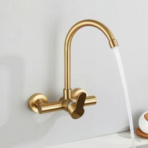 壁付蛇口 キッチン水栓 台所蛇口 冷熱混合栓 水道蛇口 金色