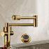 壁付水栓 キッチン蛇口 冷熱混合栓 台所蛇口 折畳み式 2ハンドル 金色