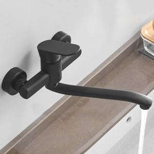 壁付蛇口 キッチン水栓 台所蛇口 冷熱混合栓 水道蛇口 黒色