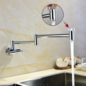 壁付水栓 キッチン蛇口 単水栓 台所蛇口 折畳み式 2ハンドル クロム