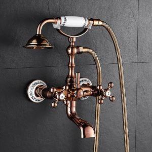 浴室シャワー水栓 ハンドシャー バス水栓 浴槽蛇口 混合水栓 蛇口付 ローズゴールデン 花柄