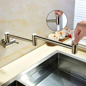 壁付水栓 キッチン蛇口 単水栓 台所蛇口 折畳み式 2ハンドル ヘアライン