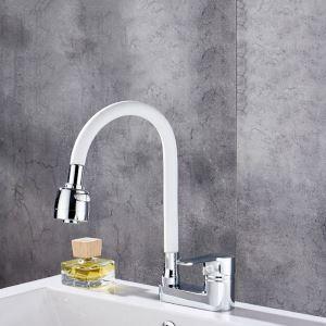 洗面蛇口 バス水栓 冷熱混合栓 立水栓 水道蛇口 整流&シャワー吐水式 360°回転 白色