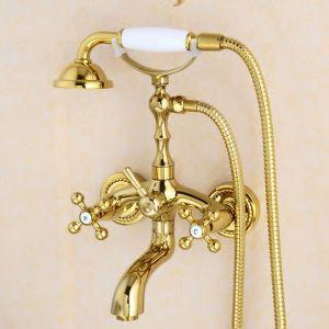 浴室シャワー水栓 ハンドシャー バス水栓 浴槽蛇口 混合水栓 蛇口付 金色