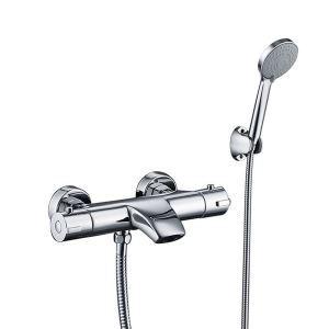 浴室シャワー混合水栓 壁付サーモスタット混合栓 バス水栓 浴槽蛇口 クロム