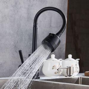 キッチン蛇口 台所蛇口 単水栓 整流&シャワー吐水式 360°回転 黒色