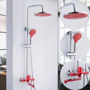 浴室シャワー水栓 レインシャワーシステム バス水栓 ヘッドシャワー+ハンドシャワー+蛇口 混合栓 クロム&赤色