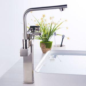 洗面蛇口 バス水栓 キッチン蛇口 引出し式水栓 冷熱混合栓 水道蛇口 2ハンドル ヘアライン H35cm