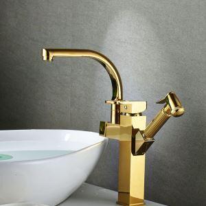 洗面蛇口 バス水栓 キッチン蛇口 引出し式水栓 冷熱混合栓 水道蛇口 2ハンドル 金色 H35cm
