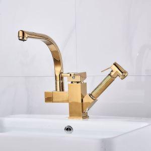 洗面蛇口 バス水栓 キッチン蛇口 冷熱混合栓 引出し式水栓 水道蛇口 2ハンドル 金色 H25cm