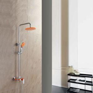 浴室シャワー水栓 レインシャワーシステム バス水栓 ヘッドシャワー+ハンドシャワー+蛇口 混合栓 クロム&オレンジ