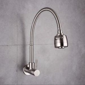 壁付蛇口 キッチン水栓 台所蛇口 単水栓 整流&シャワー吐水式 360°回転 ヘアライン