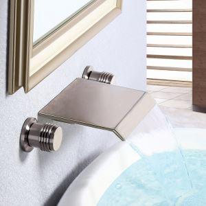 壁付蛇口 バス水栓 洗面蛇口 冷熱混合栓 浴槽水栓 水道蛇口 滝状吐水口 2ハンドル ヘアライン