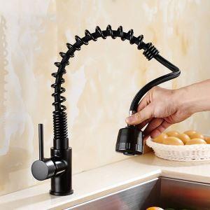 キッチン蛇口 引出し式水栓 台所蛇口 冷熱混合栓 水道蛇口 整流&シャワー吐水式 黒色