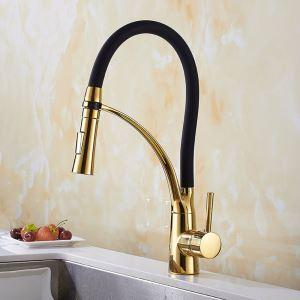 キッチン蛇口 台所蛇口 冷熱混合栓 水道蛇口 整流&シャワー吐水式 真鍮&ゴム 黒色&金色