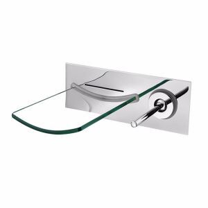 壁付蛇口 バス水栓 洗面蛇口 冷熱混合栓 水道蛇口 ガラス吐水口 クロム/ヘアライン