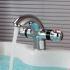 洗面蛇口 バス水栓 サーモスタット付蛇口 冷熱混合栓 温度調節ハンドル クロム