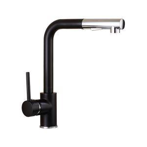 キッチン蛇口 ホース引出式水栓 台所蛇口 冷熱混合栓 水道蛇口 整流&シャワー吐水式 黒色
