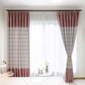 遮光カーテン オーダーカーテン 北欧風 ピンク 格子柄 シェニール ジャカード 1級遮熱カーテン(1枚) F16